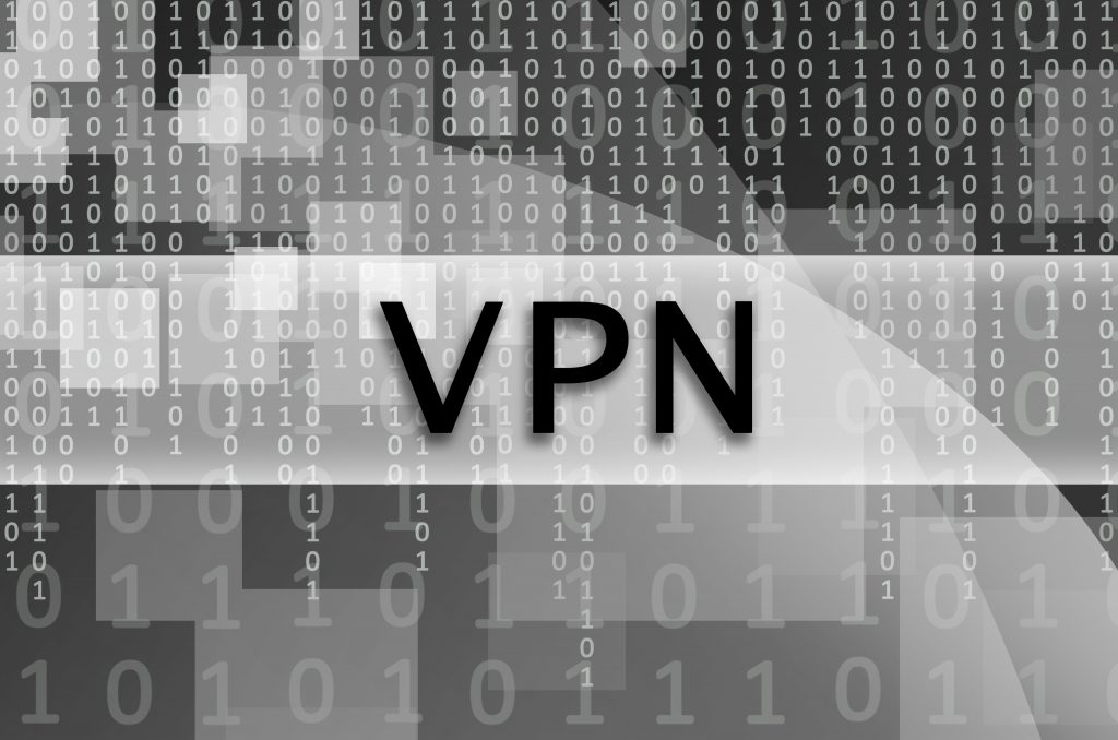 The text inscription VPN is written on a semitransparent field surrounded by a set of abstract figures